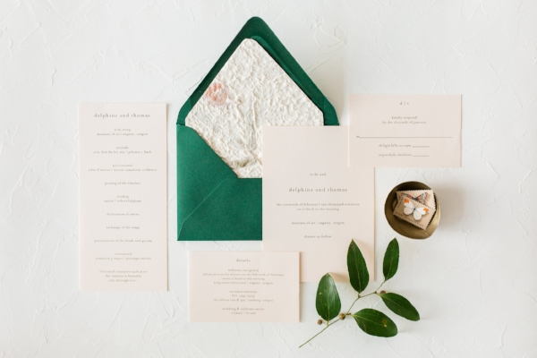 modern wedding invitation styling with foraged home metal bowl
