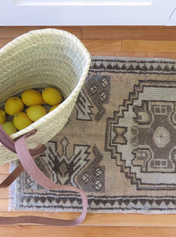 Small neutral Turkish kilim rug for kitchen or bathroom from Foragedhome.com