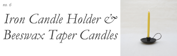 Holiday Host and hostess gift guide under $30 from Foraged Home featuring handmade beeswax taper candles and iron candle holder