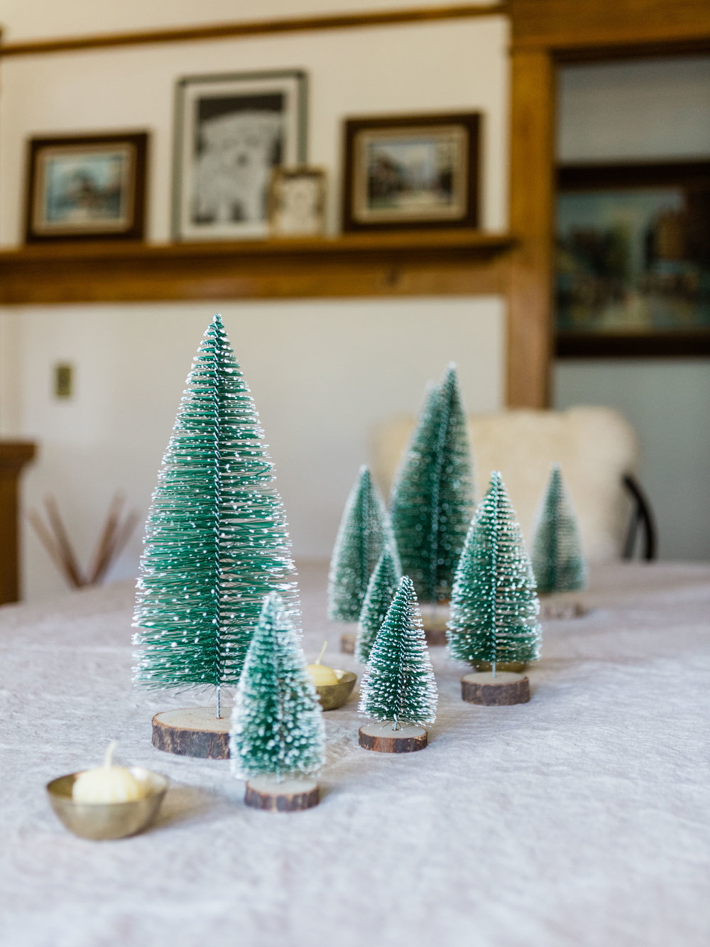 Bottle brush Christmas trees as winter centerpiece from Foraged Home