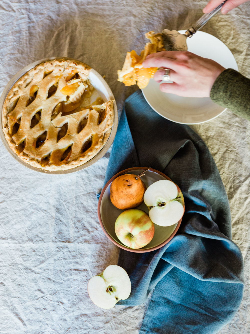 Simple and beautiful baking flat lay with peach and apple pie