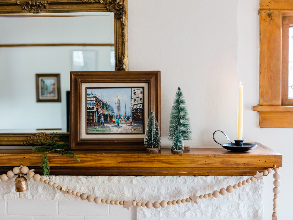 Simple holiday mantle decor for Christmas from Foraged Home