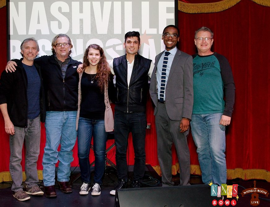 From left to right- Jim Frazier (music industry judge), Kim Shrum (music industry judge), Carson Hill (audience winner), Mike Mineo (music industry judge winner), Jaylen Coleman (VIP Manager of Kings Bowl), Keith Mohr (NRS creator/director)