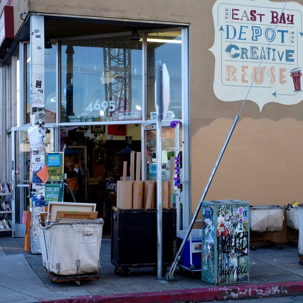East Bay Depot for Creative Reuse :  For all your creative needs. Essentially a used store geared toward makers. Old fabric, trinkets,and magazines.