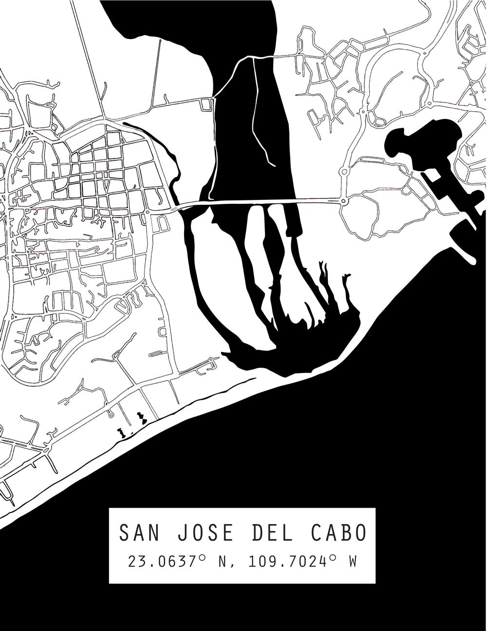 San Jose Del Cabo Mexico Map.San Jose Del Cabo Mexico Map Print Adventure Romance