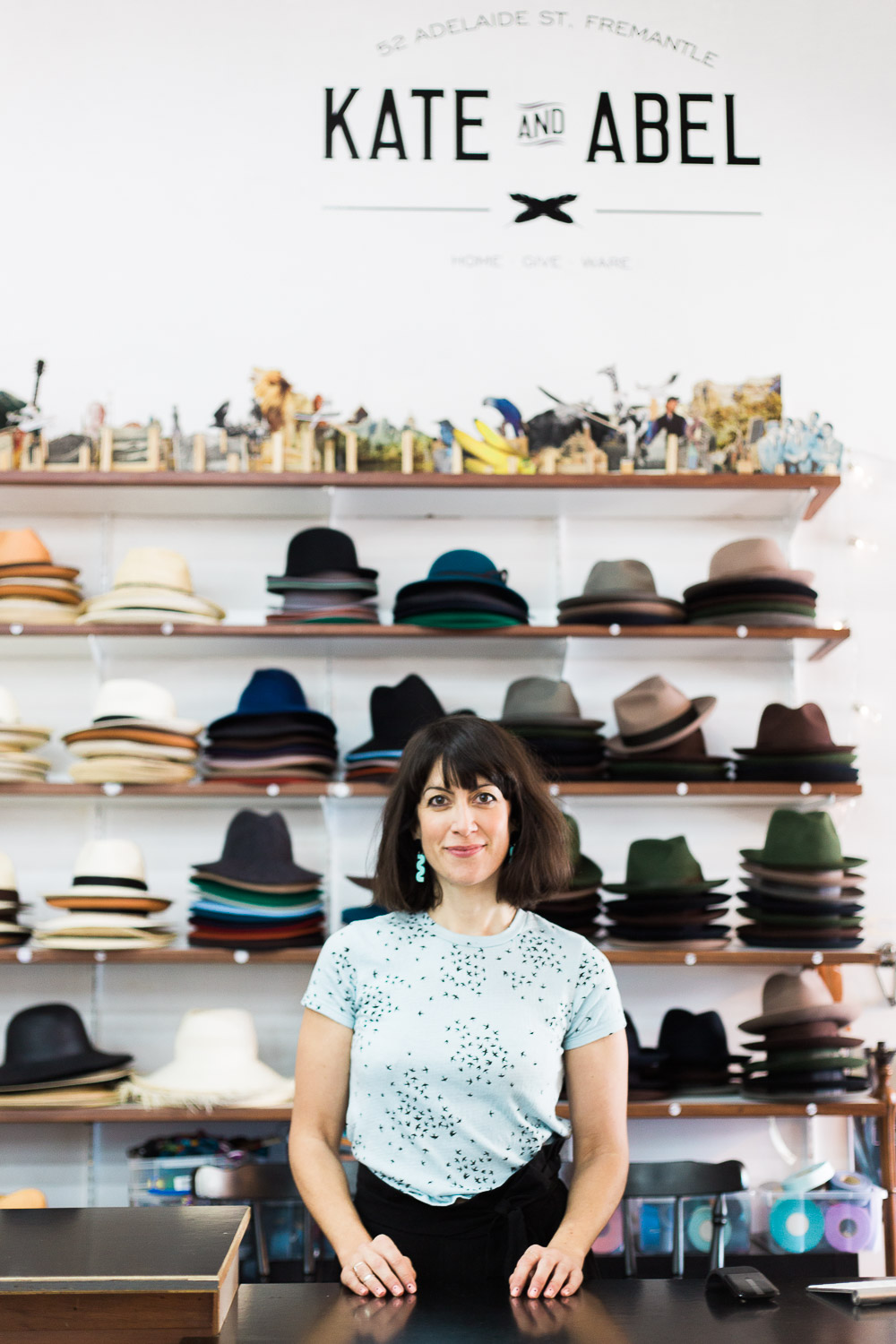 "Kate started making hats whilst living in London with partner Matt. ""I think, at that stage, we both had a thing for hats. So after a year of talking about it, we finally decided to make a few and try selling them at London markets..."""