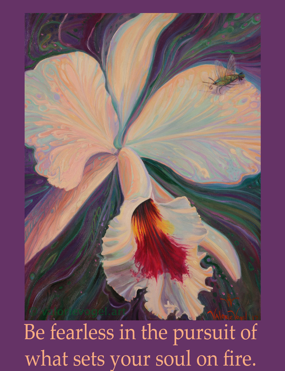 Hummingbird Moth & Orchid-Valorie Vogel