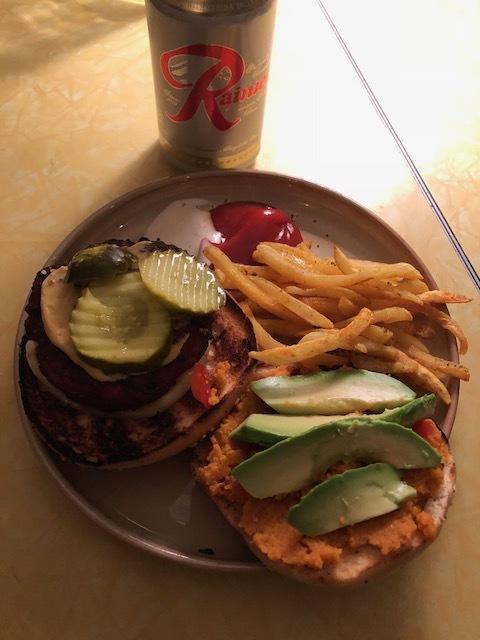 My dinner last night. Elk, bacon, beef burger with pumpkin ganoush, mustard, pickles avocado and fries.