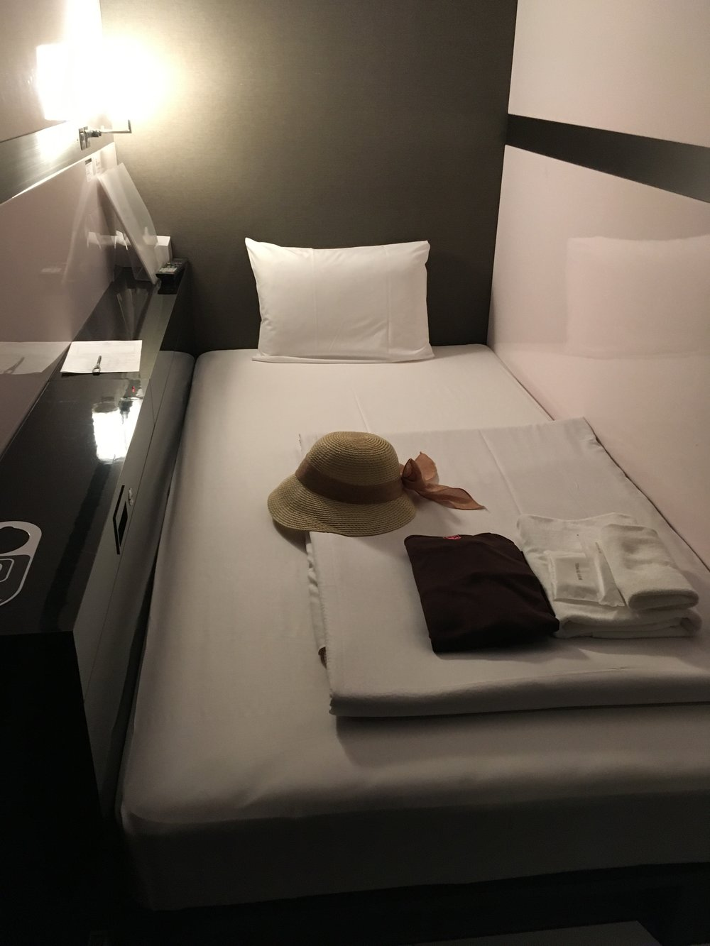 After a long day of walking, I was excited to arrive at my capsule hotel. Simply comfortable.