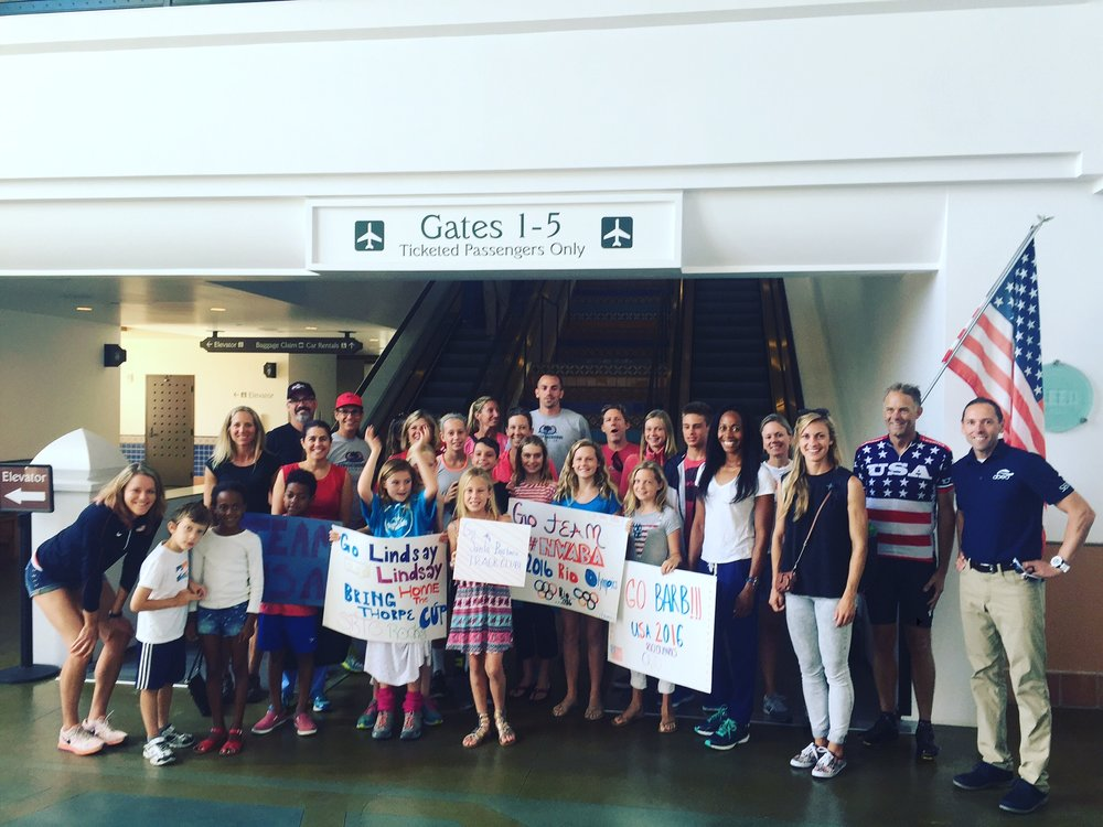 SBTC Youth Club & supporters send off SBTC athletes at the Santa Barbara Airport