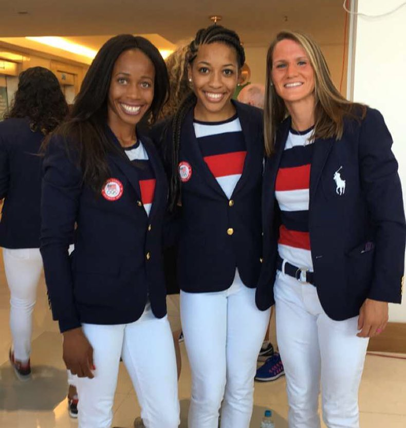 Nwaba (pictured left) with Team USA Heptathletes in Rio.
