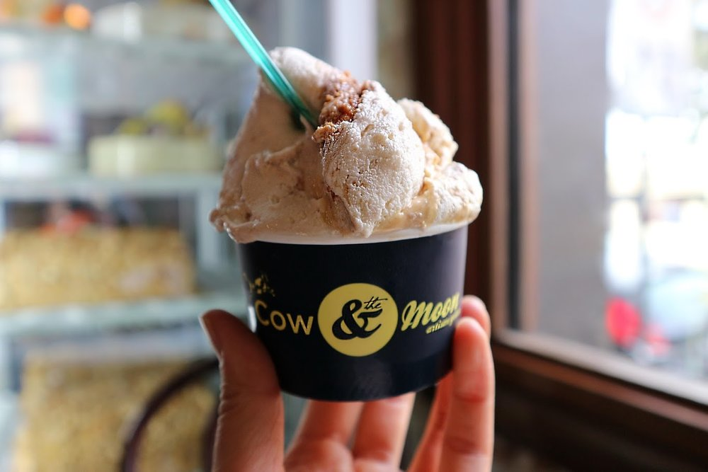 Cow & The Moon - This place has an awesome vibe, great funky decor, friendly staff, and a GRAND selection of gelato just waiting to be scooped for your pleasure... They also do specialty coffee!