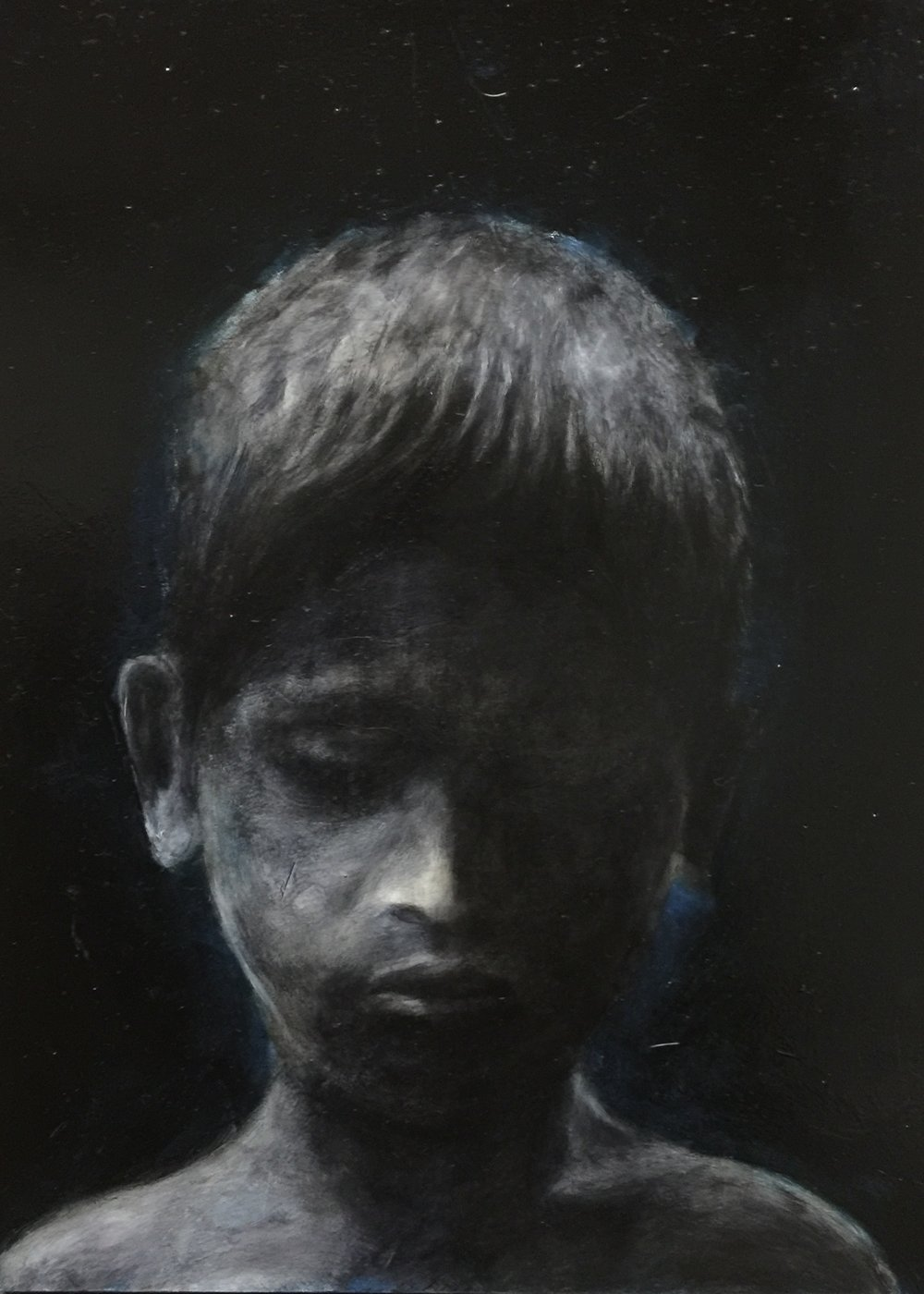 """Boy from Mumbai"", oil on woodboard, 8' x 12"", 2014."