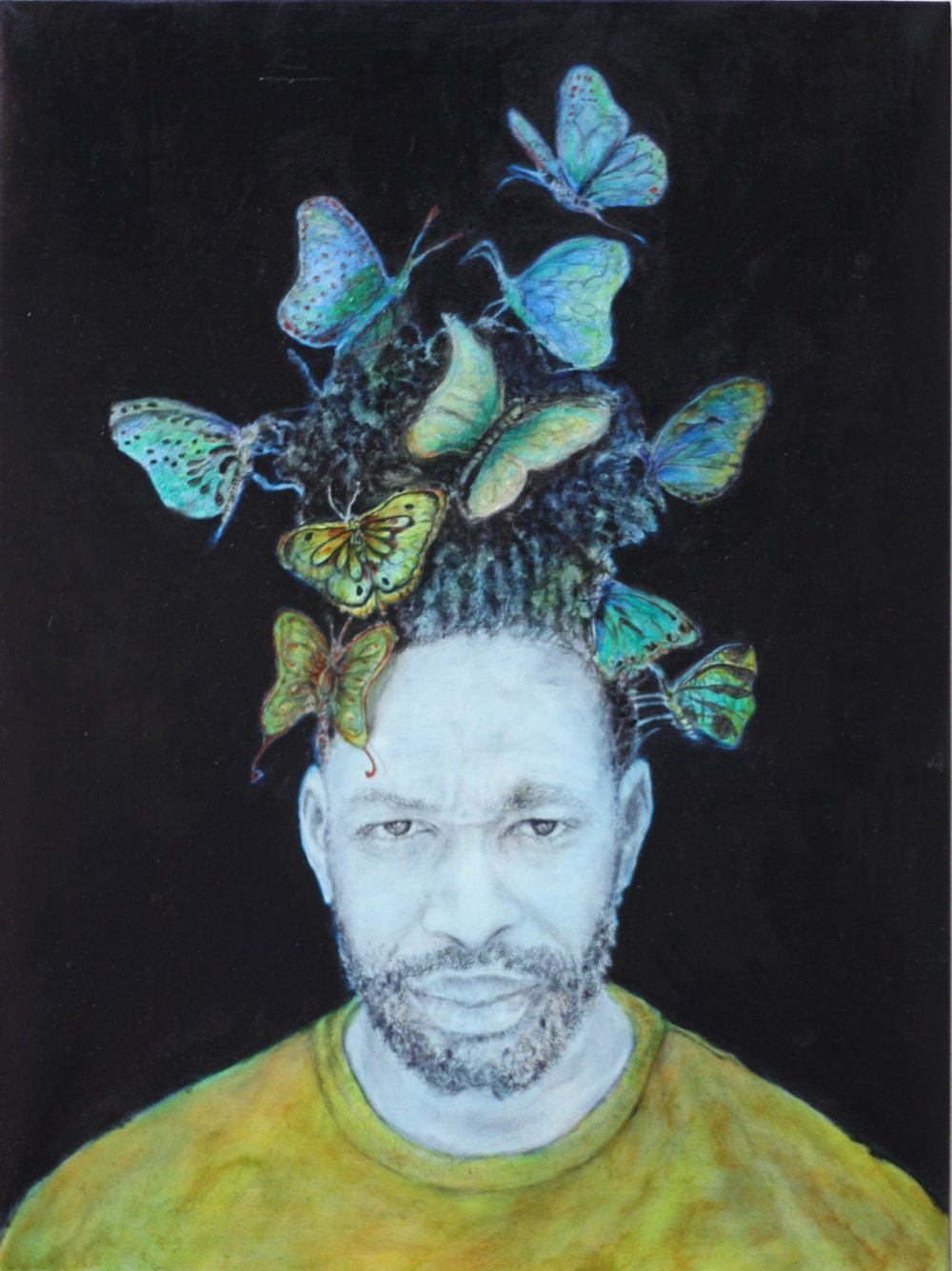 """Of Human Survival - Plight of the Butterflies"", 28""x24"", charcoal, graphite and oil on canvas on woodboard, 2018."