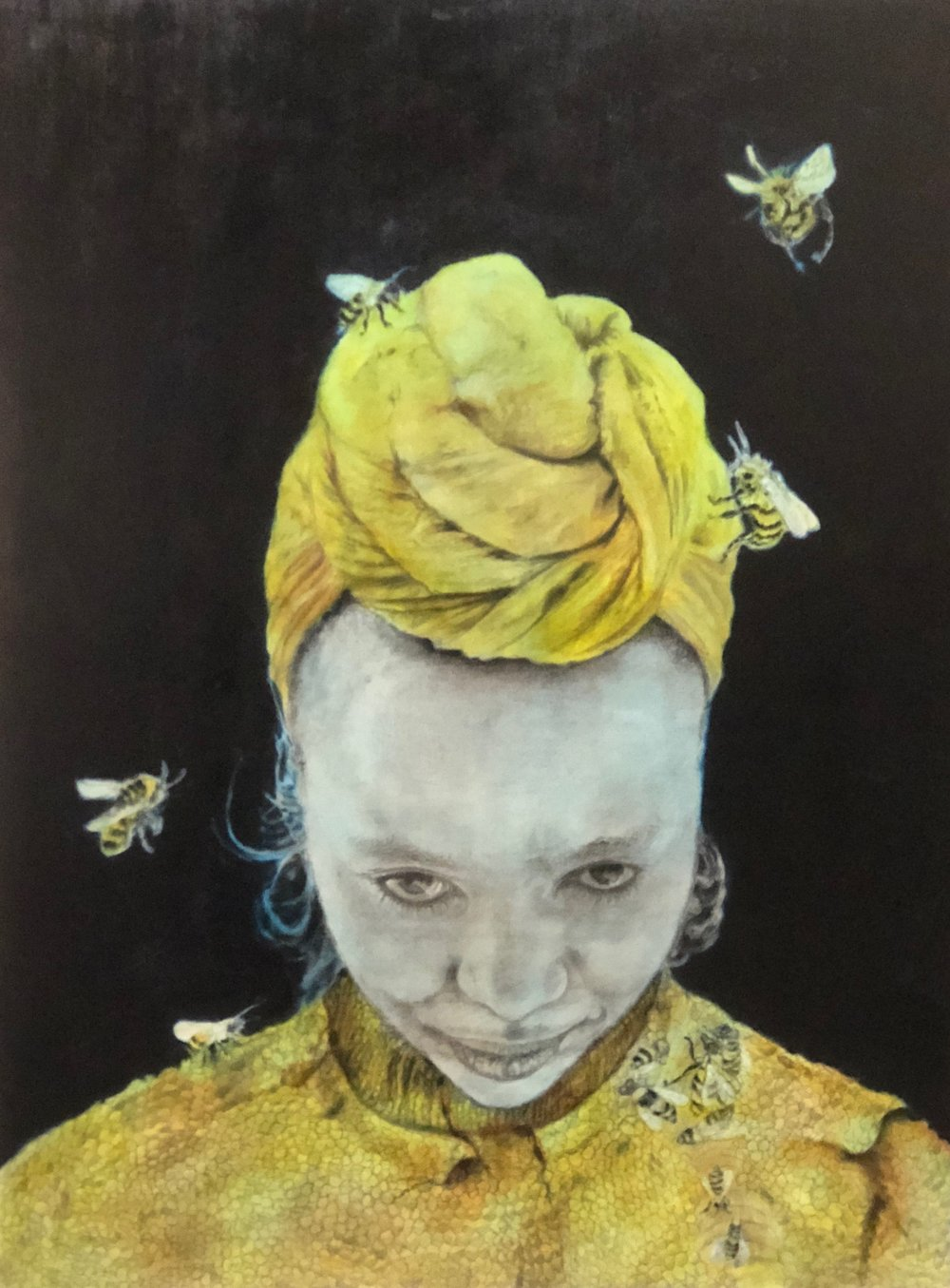 """Queen B"", 28""x24"", charcoal, graphite and oil on canvas, 2018."