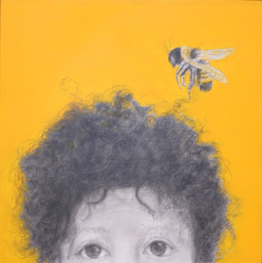 """Boy with a Bumble Bee"", 8""x8"", charocal, graphite and arcrylic on woodboard, 2018."