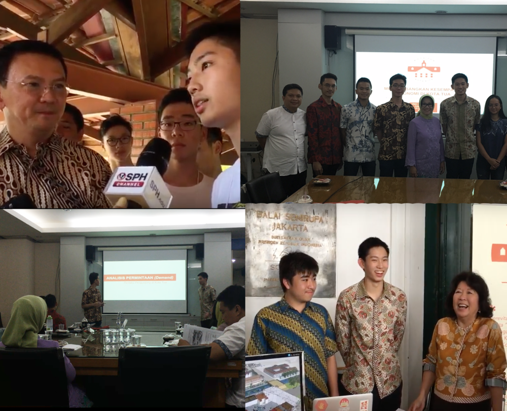 (From Top left to bottom right): Conversing with Pak Ahok (Former Governor of Jakarta), Presenting in front of Jakarta's Regional Planning Board (Bappeda), Sharing with Ibu Mari Pangetsu (Former Minister of Trade).