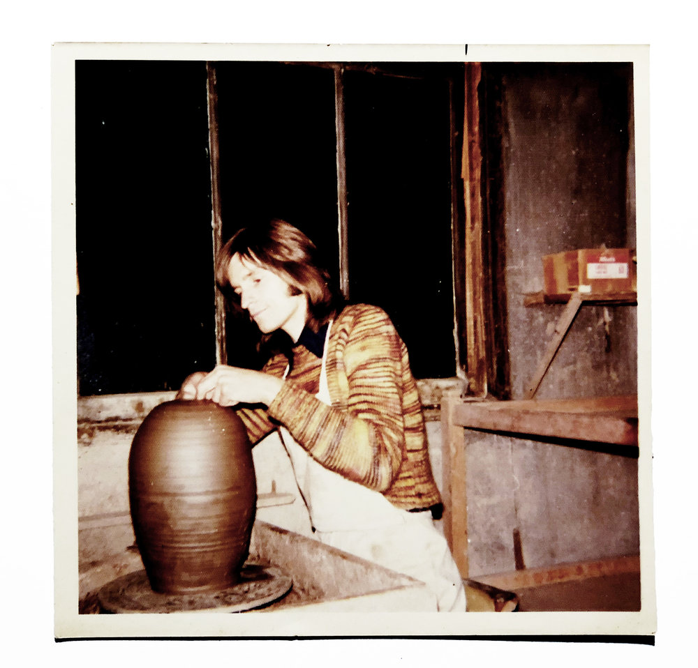 Peter making a vase at the Clevedon Pottery around 1971