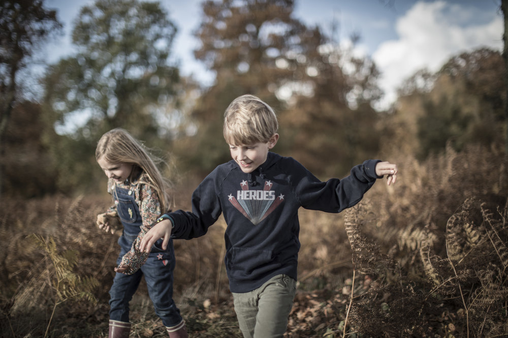Above: Sophia wears Boden dungarees and Bonton blouse from Smallable. Isaac wears Luis Louise sweatshirt. Below: Isaac in a Finger in the Nose sweatshirt and Sophia wearing a Louise Misha jumper.