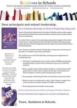 wear it purple rainbows in schools
