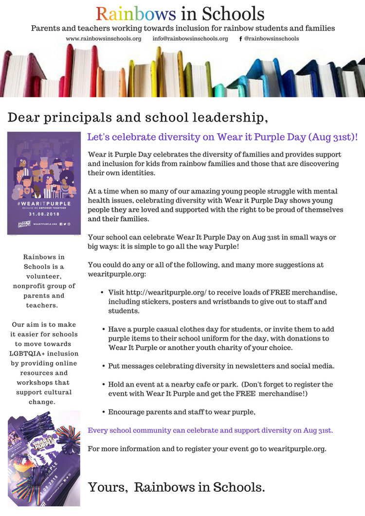 invite your school community to celebrate wear it purple on aug 31st