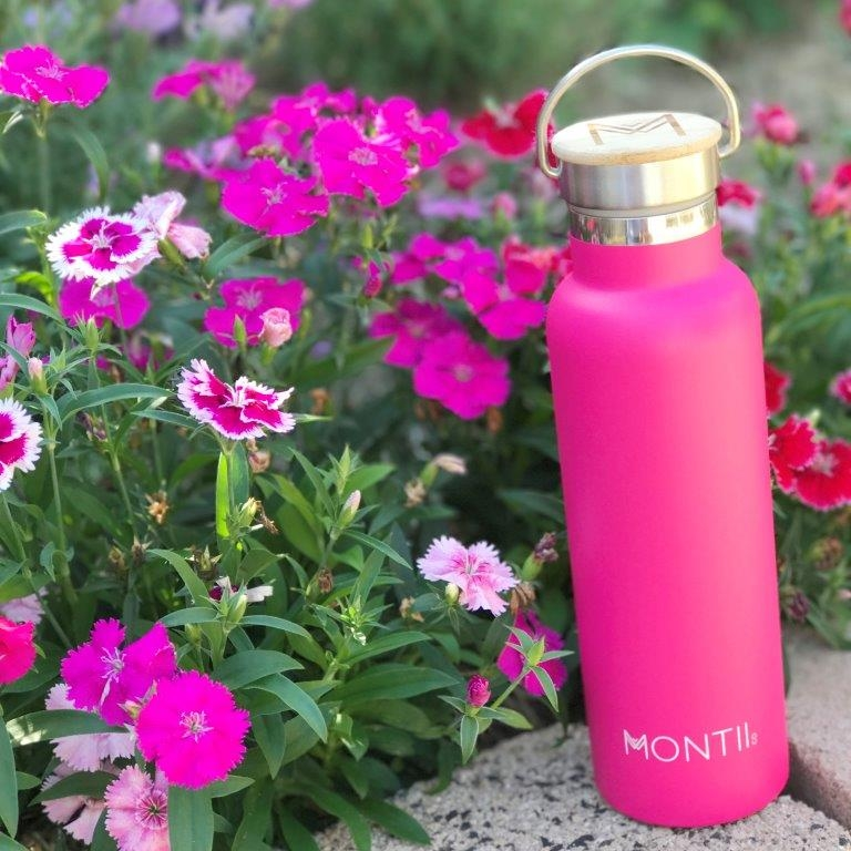 MontiiCo water bottle in hot pink.
