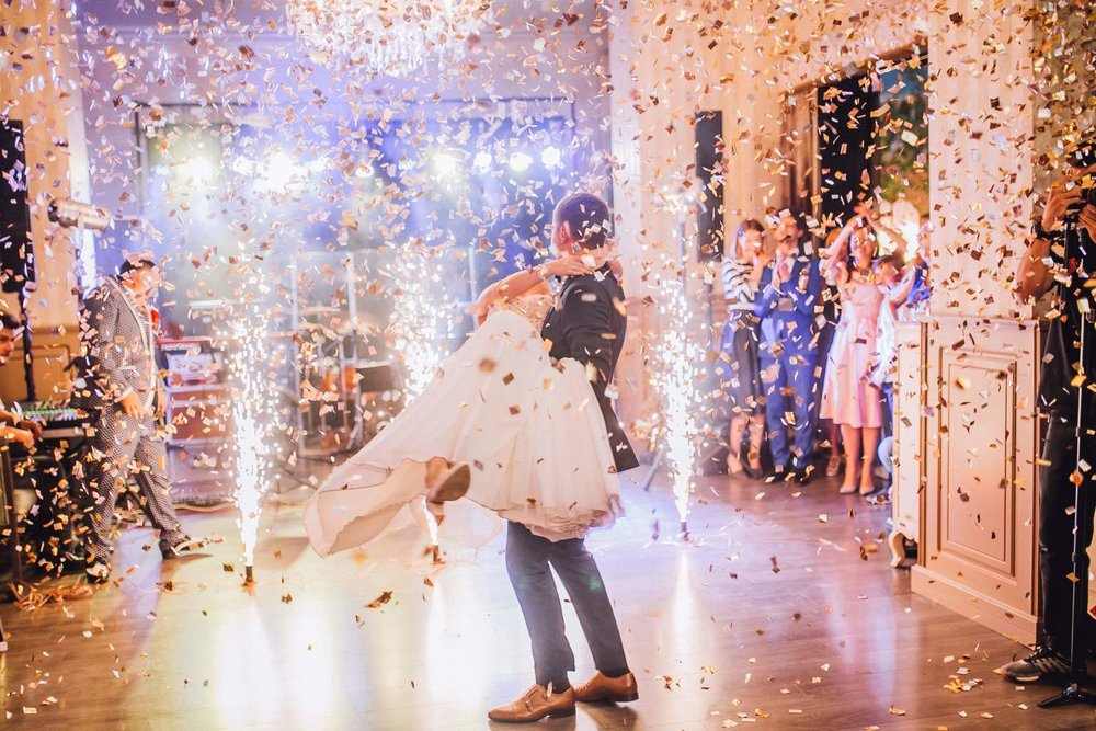 Confetti Canons And First Dance Fireworks