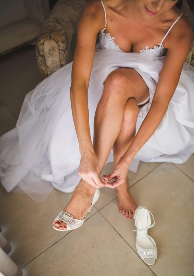 """10.Shoes You Can Dance in Until The Sun Comes Up - Undoubtedly weddings are getting longer. From the ceremony to the last dance the Bride can easily be on her feet for 20 hours. Many Brides resort to trainers and provide flip flops for their guests.Chrystal of Imaani Bridal Shoes says, """"Many wedding shoe makers are working hard to find a prettier solution, look for built-in comfort features including padded insoles, non-slip outsoles, adjustable ankle straps and a wide fit, that enables you to be elegant and comfortable while walking, standing or dancing. We embellish each pair of our wedding shoes by hand with crystals or elegant trims for a look that is beautiful and timeless """".Photographs courtesy of Imaani Bridal Shoes"""