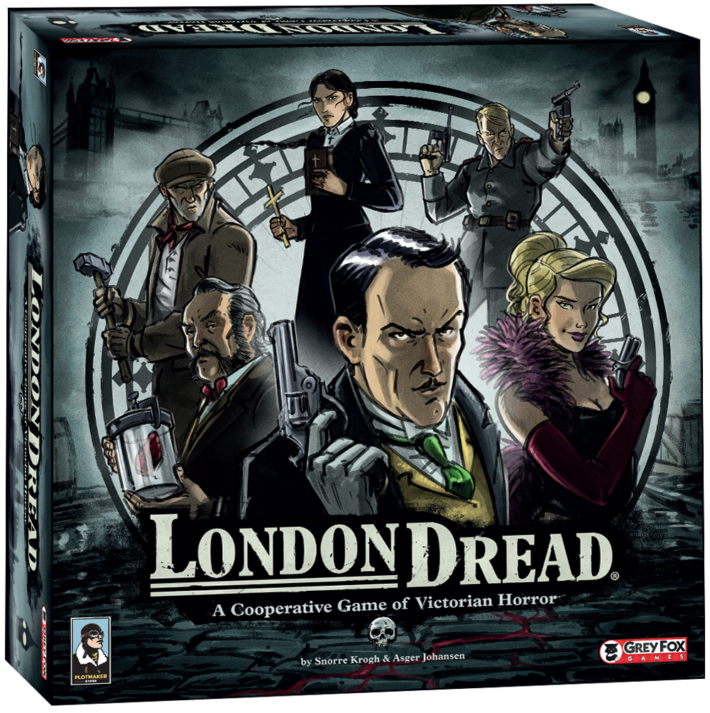 LONDON DREAD - London Dread is a co-operative game set in Victorian England. Players take on the role of investigators trying to uncover plots on the way to confronting a story specific finale. The game is gritty and thematic, featuring a series of dark events and story lines with a hint of the supernatural. The game is broken into a series of stories, usually played over the course of 2 chapters, in which players alternately participate in a timed planning phase where various obstacles and plots are uncovered and then an untimed story phase where players resolve the effects of their planning.
