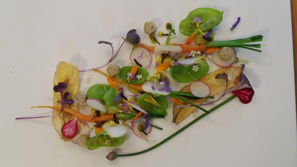 Crême de abacate com Suco de bergamota. Legumes Baby,ervilha torta,pipoca de arroz selvagem,Picles de quiabo,chips de BananaVerde e flores do Lar de Eventos Santo Mimo