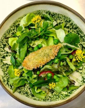 Saladinha Orgânica especial Setembro Verde no  @umbarecozinha , do chef  @kristensen em Porto Alegre: folhas, mini folhas, brotos, pesto de urtiga, peixinho da horta crocante, ervilhas frescas e vinagrete de araçá. Lindo de ver, delícia de provar!