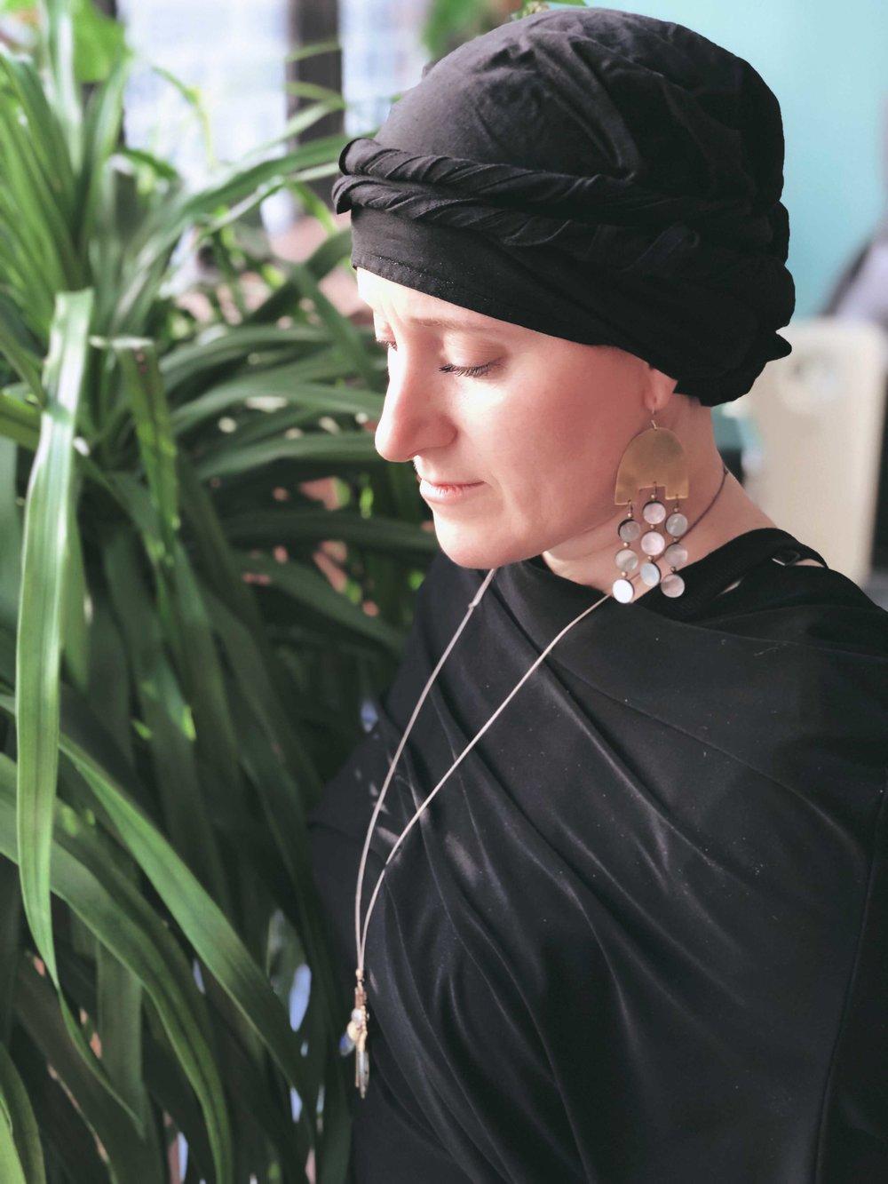 Rebecca wearing    The Reflection Earring
