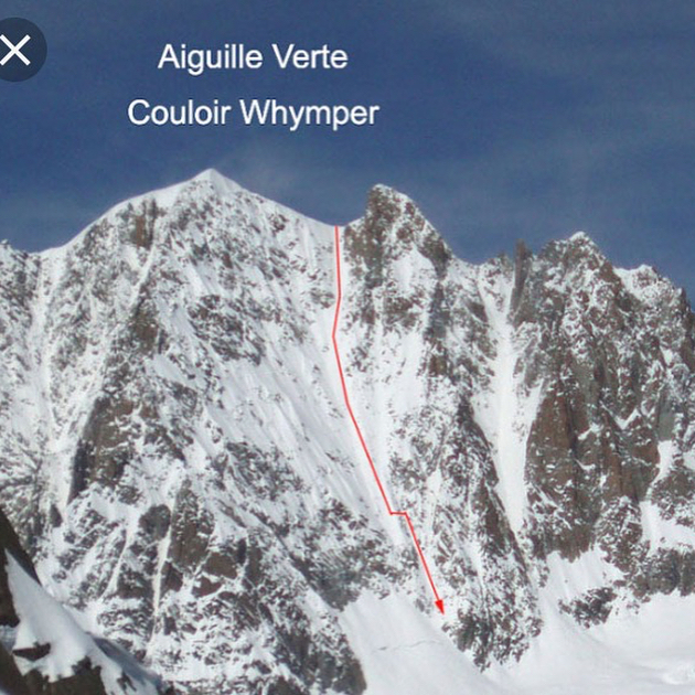 Here's a story about Monday:  The alarm went off at 1:30 after I had seen the hands strike 1. Must have been nervous. Skinning at 2:40 into a light horizontal snow fall, we arrived at the bergschrund having glimpsed 4 head torches in the couloir but rarely seeing their tracks. I thought I saw someone fall down the couloir, their light plummeting quickly 400m or so, followed by a frantic scanning from party members shining their torches back down. Whether a dropped torch or a trick of the eye due to staring into the driving snow for two hours I don't know, but we were spooked for some time that we may be party to a different kind of mission this morning.  As the sun rose our comfort increased, and the first third climbed in good neve. The central 300-400m that followed was unstable, dangerously sugary snow. Our pace slowed, we pitched the last three lengths as confidence in the snow had waned, although these were in fact better than the ones before.  The wind gusted some at the col. Pretty exhausted, stressed and cold we walked along the arete towards the summit before a few more gusts made us think otherwise.  I dropped my water bottle-all our remaining water- at the col. That leads to quite a drop in performance it turns out.  We did two rapps over the chunky stuff, and where the sun had been bathing stepped into our skis. Nothing like 47-50 deg to snap you out of a dehydrated daze! The snow was perfect for this, grippy and consistent. We skied 350m before having to transfer to the other couloir. This had funky snow so we resumed the faffing of trying to reach abseil anchors on skis and make transitions on this ridiculous slope. Finally down to a point we could ski out and relief washed over us. Even better once we got some water at the couvercle refuge. New lesson might be to have two small bottles on the mountain as it's not the first time I've dropped one! - Martin GB thanks for realizing this line 🙏🏻 - @hibouchamonix sorry for being late - @petehoughton86 thank
