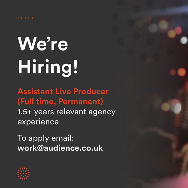 We are growing! Could one of these roles be for you?! Full details are on our website: www.audience.co.uk #wearehiring #eventprofs #eventjobs #recruiting #events #jobad