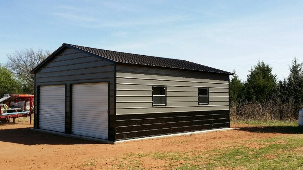 22x26x9 A-Frame Vertical, Three 9×7 Roll-Up Doors (One with a Texas Cut on the side), One Walk-In Door, Two Windows.jpg