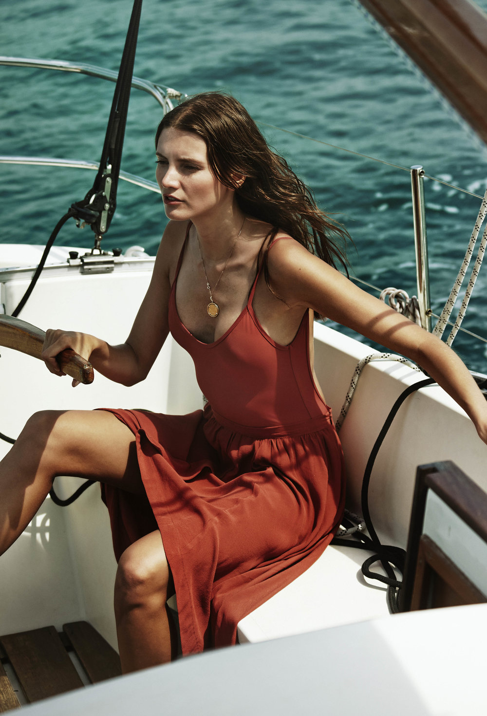 BOWER CAMPAIGN HUTTON ONE PIECE & SOLEIL SKIRT IN TERRACOTTA.jpg