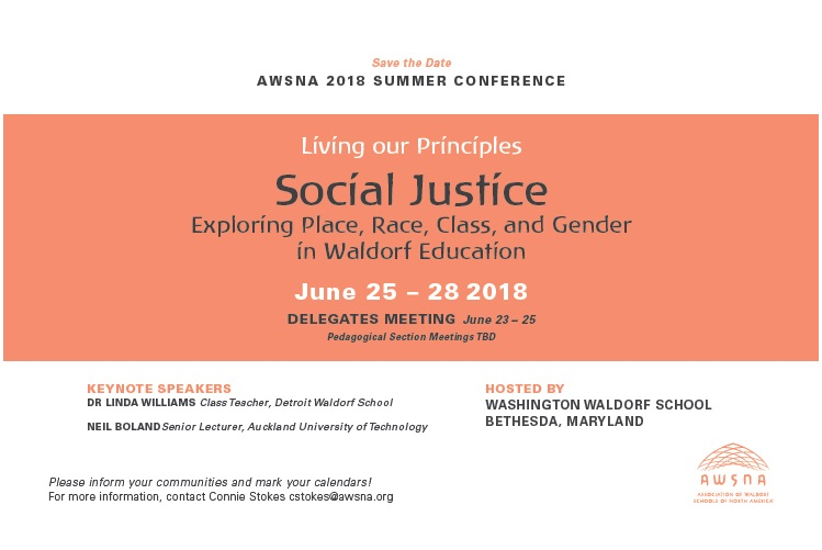 AWSNA & inclusion   - Last month the Association of Waldorf Schools of North America (AWSNA) hosted their national conference and featured Keynote speaker, Dr. Linda Williams to speak about diversity, equity and inclusion in Waldorf Education. From the conference page: