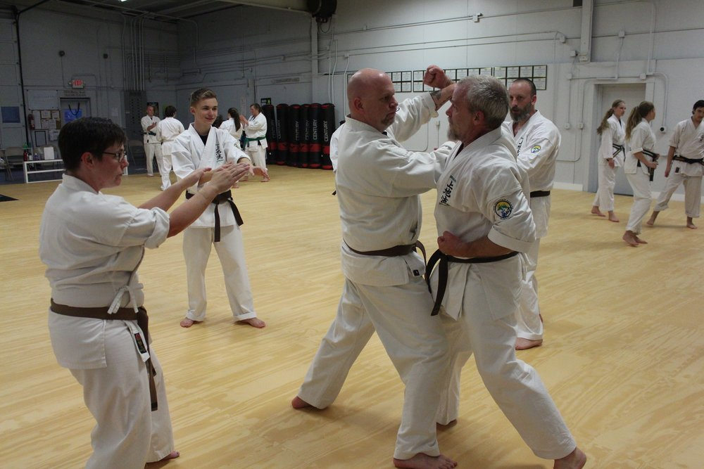 BODY - SELF DEFENSE…….While a self-defense course may teach someone the basic skills for self-defense, it has been shown that in a self-defense situation, a person is rarely able to access their conscious mind and instead relies purely on instinct. This is where karate becomes so valuable for self-defense.  All that is practiced at the dojo, repeatedly, does not require physical strength.  It is about being instinctive and developing muscle memory.
