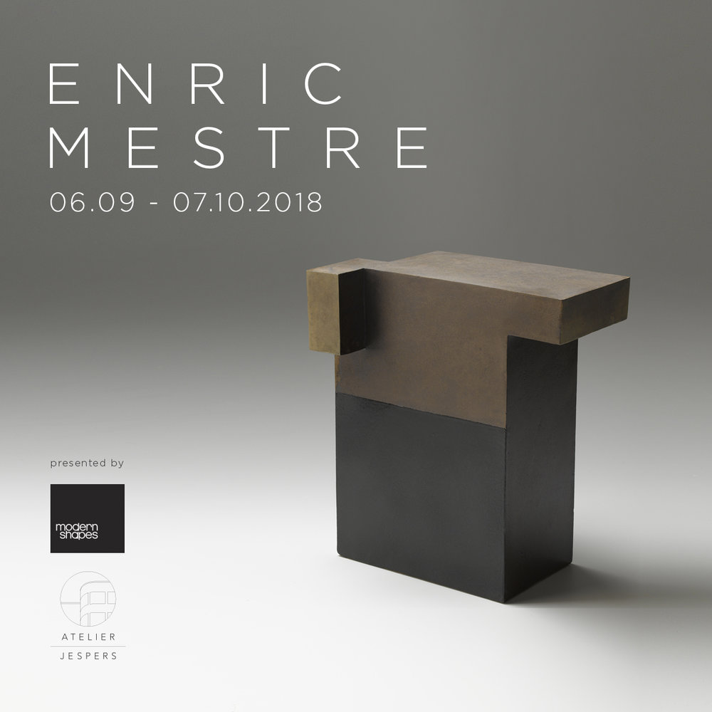 odern Shapes Gallery and Atelier Jespers are pleased to present  ARCHITECTURE IMAGINARY, A  ENRIC MESTRE  SOLO EXHIBITION  EXHIBITION from September 06 till October 07  Thursday 06/09 from 13:00 to 18:00 Friday 07/09 from 13:00 to 18:00 Saturday 08/09  OPENING NIGHT  from 13:00 to 22:00 Sunday 09/09 from 13:00 to 18:00 Thursday 13/09 from 13:00 to 18:00 Thursday 20/09 from 13:00 to 18:00 Thursday 27/09 from 13:00 to 18:00 Thursday 04/10 from 13:00 to 18:00 and any other day on appointment  ATELIER JESPERS Erfprinslaan 149 Avenue du Prince Héritier Brussel 1200 Bruxelles More info  HERE    How architecture feeds the imagination of art . Despite the fundamental functions that architecture must perform, the best examples continue to inspire artists across all genres with their masterful use of space, harmony and proportion. Modern Shapes Gallerypresents architectural ceramic art by the Spanish master sculptor Enric Mestre.   Enric Mestre , born 1936, lives and works in Valencia Spain. He is recognized worldwide, won many international awards and has participated in numerous individual and collective exhibitions around the world. His sculptural objects seem sober spatial constructions: boxlike, slab built architectural structures of austere colours dominated by right angles. But appearances are deceptive: these objects have a poetic charm which saves them from only being rational and cold. The eye of the beholder detects small projections, subtle displacements and slants which, together with the immediate effect of the material, counteract the angularity of the slabs which compose these quiet and well balanced constructions of strict geometrical order. Though these objects are often carefully planned and developed, Eric Mestre with his works insists on intuition – as if obeying a kind of constructive poetics restraining and controlling personal expressions without eliminating them.