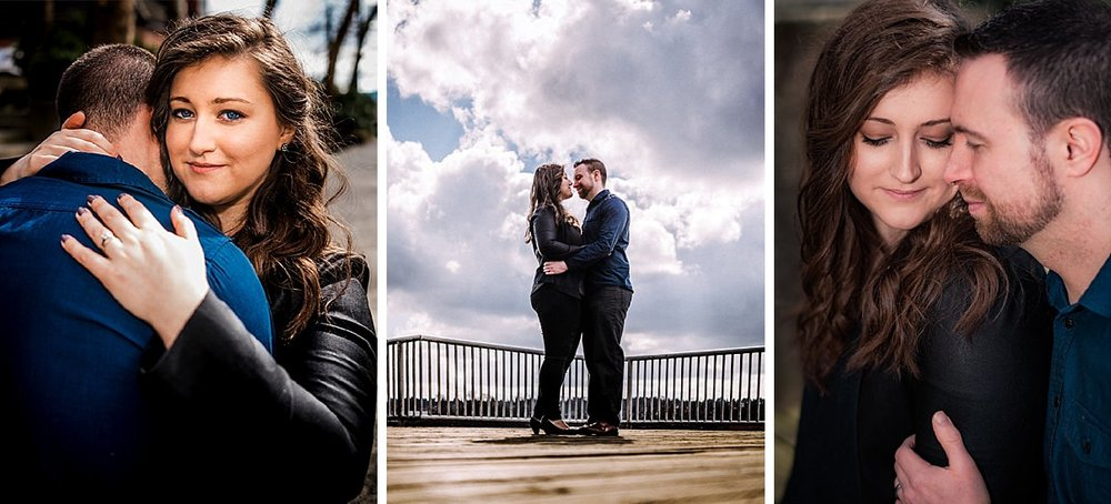 outdoor set of three images Vancouver engagement session candid couple Vancouver wedding photographer photography