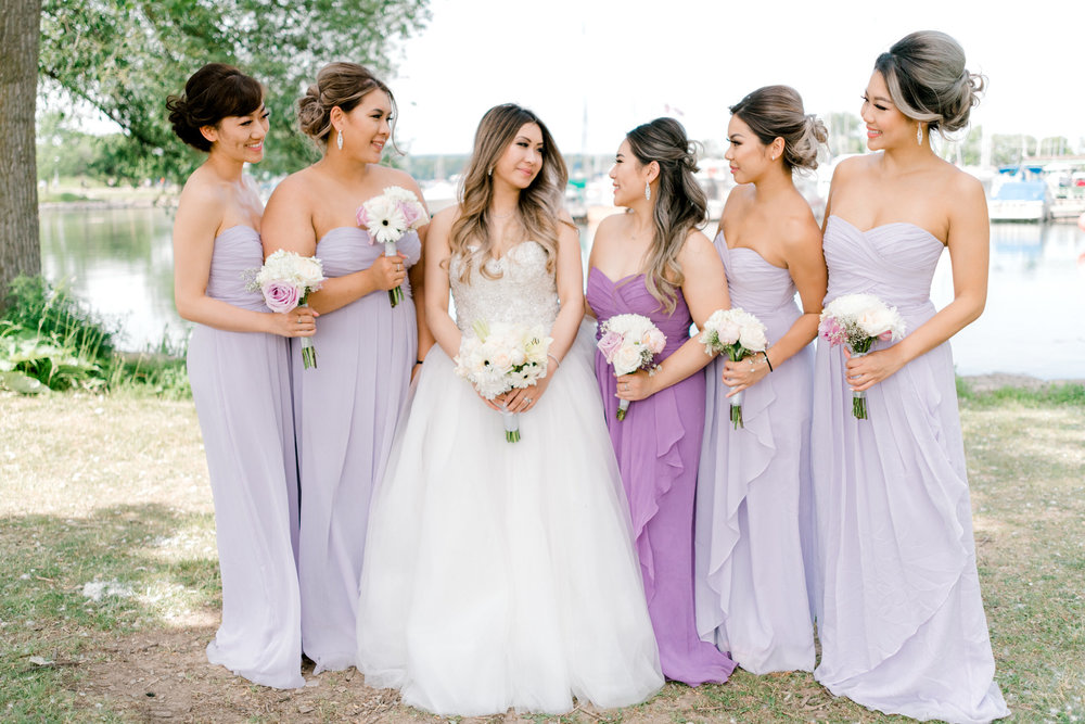 vancouver destination wedding in Toronto with 6 girl bridal party