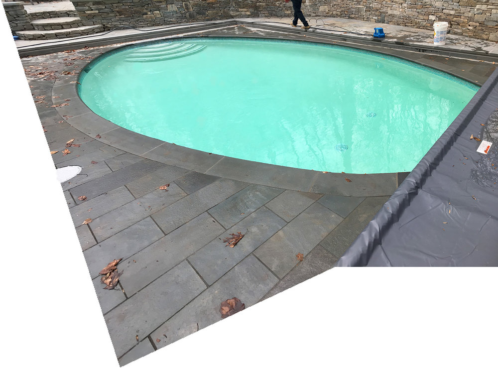 Photo showing pool area being readied for 2018 pool season