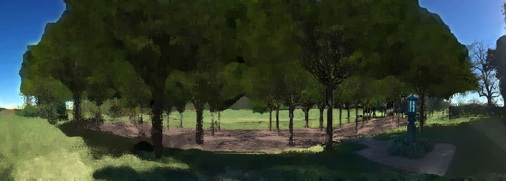 illustrative showing proposed bosque @ historic triple terrace to the east of manor house.