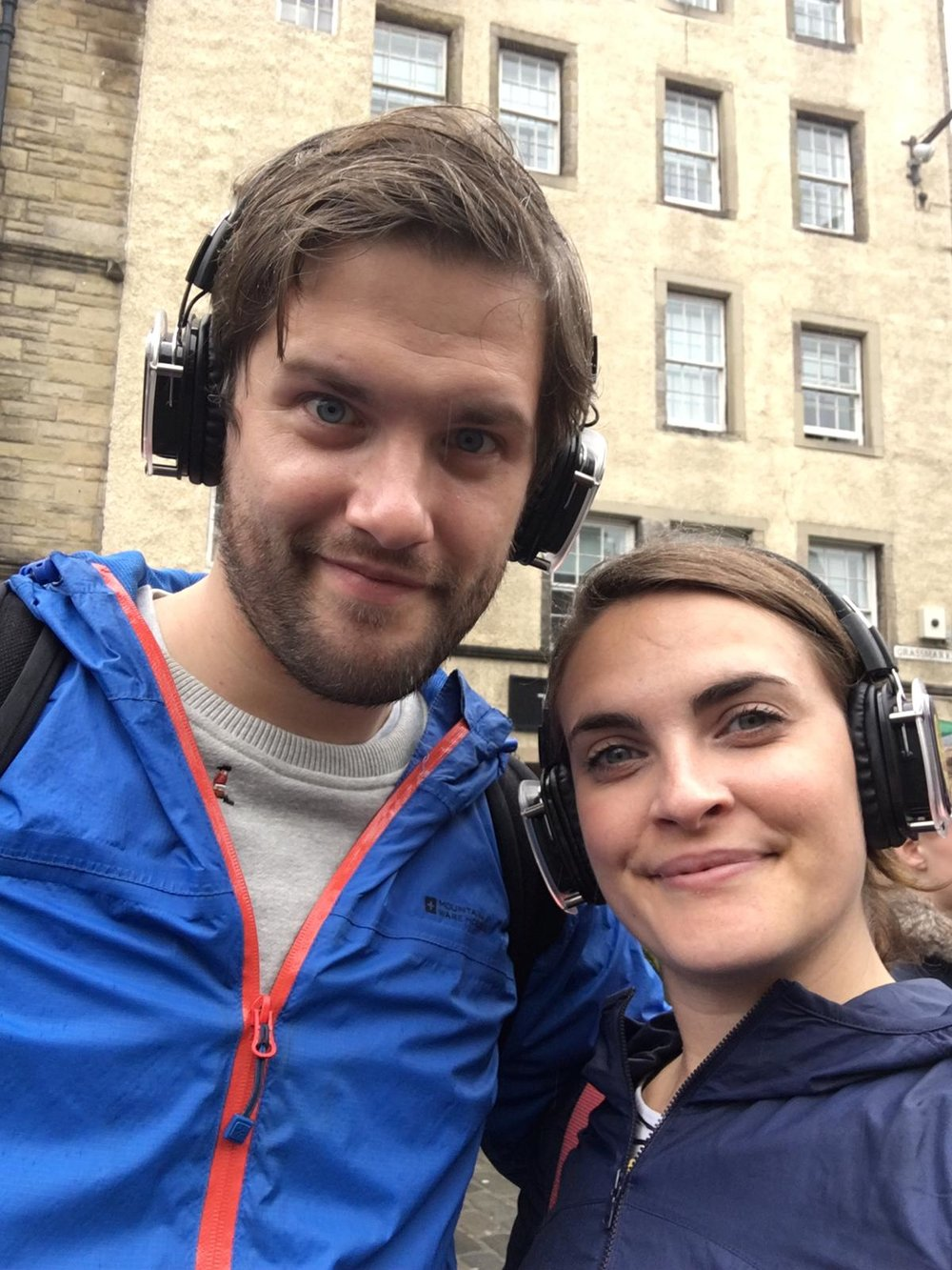 Ant and Rosalind on the Silent Disco Walking Tour