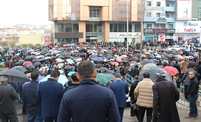 Teachers demanding their salaries through protests in the city of Sulaimani in 2016. Photo by; Rezhiar Fakhir