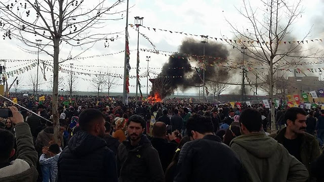 People celebrating Newroz in Amed, Kurdish region of Turkey. Photo by: Julie Brown.