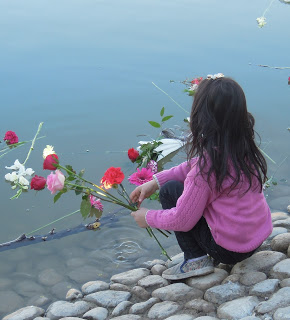 Child places flowers in a lake in to remember the 65 people who   died in the Aegean Sea on Jan 22nd 2016