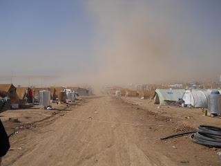 A dust Cloud blows through Domiz Camp