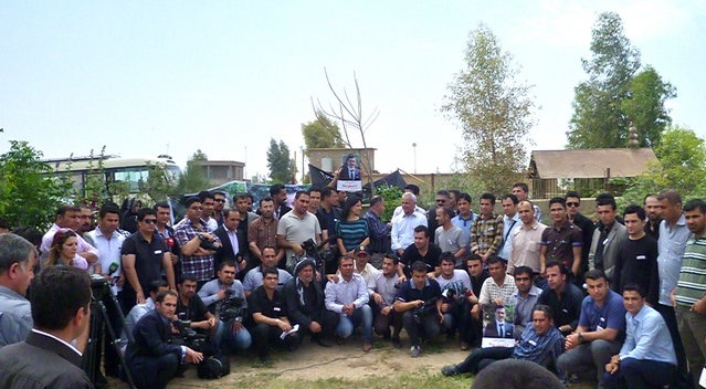 Journalists and other press workers gather for a group photo op. According to Kurdish Metro Center, in 2010 journalists have been the target of 359 violations. Reporters Without Borders reports that in 2008, 23-year-old journalist   Soran Mama-Hama  , was gunned down in Kirkuk.