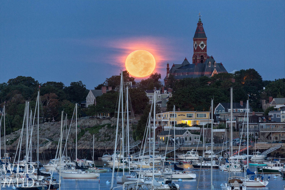 Supermoon over Marblehead Harbor and Abbot Hall, photo credit Eyal Oren, Wednesdays in Marblehead https://wednesdaysinmhd.com/